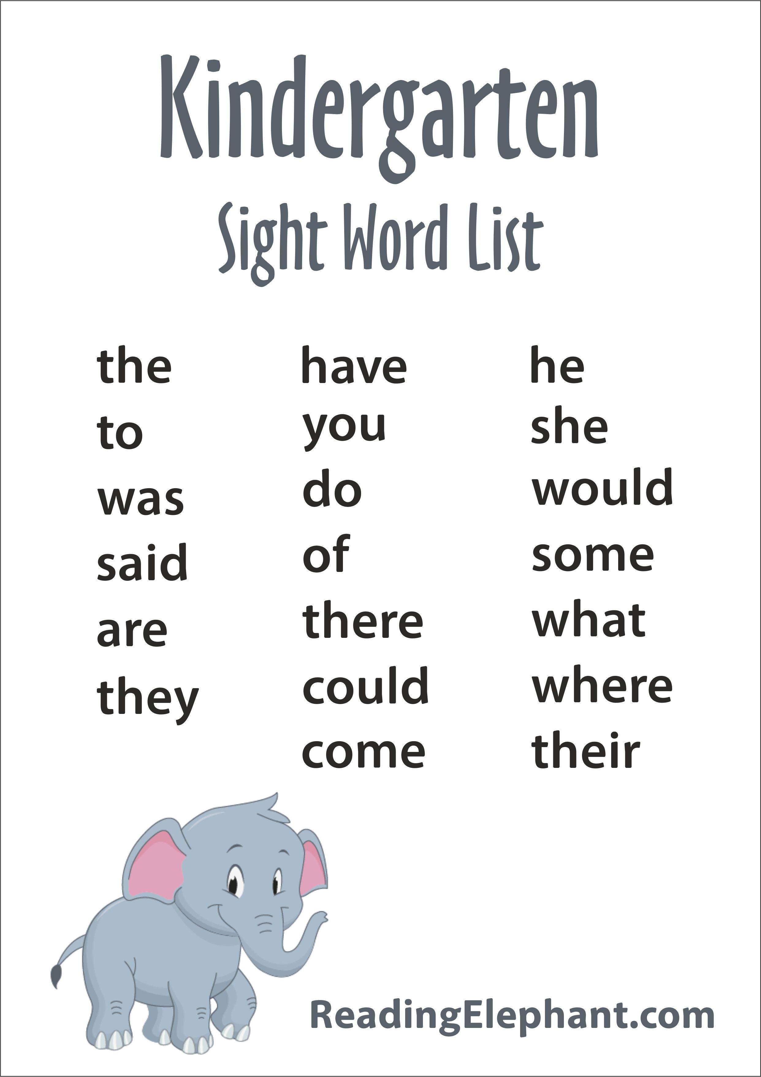 Kindergarten Sight Words - FREE Printable - Reading Elephant