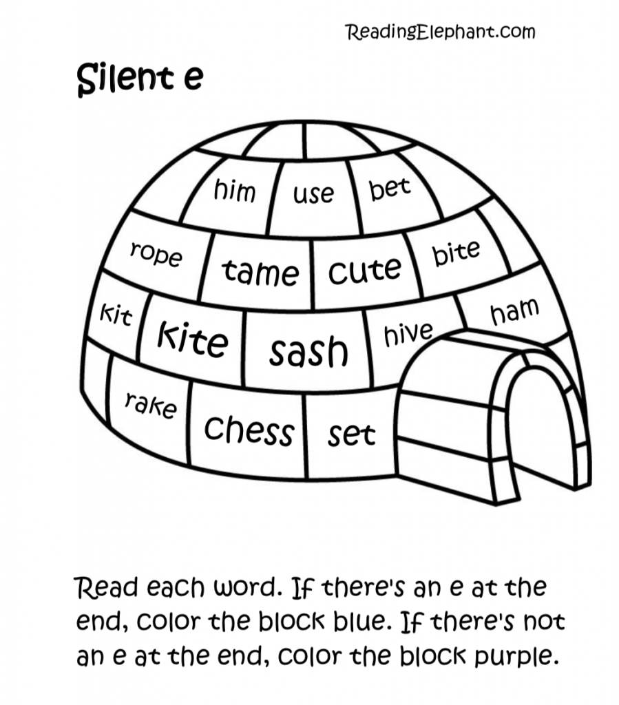 Silent e Worksheets pdf (Igloo Fun!) - Reading Elephant